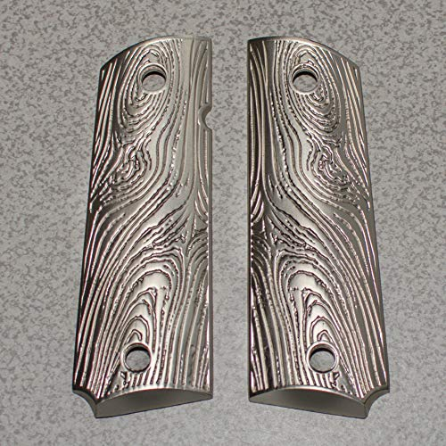 1911 Full Size Government Metal Grips Brushed Nickel Plated Scroll Grips