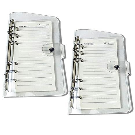 Amazon.com: Funda para cuaderno de PVC transparente A5 con 6 ...