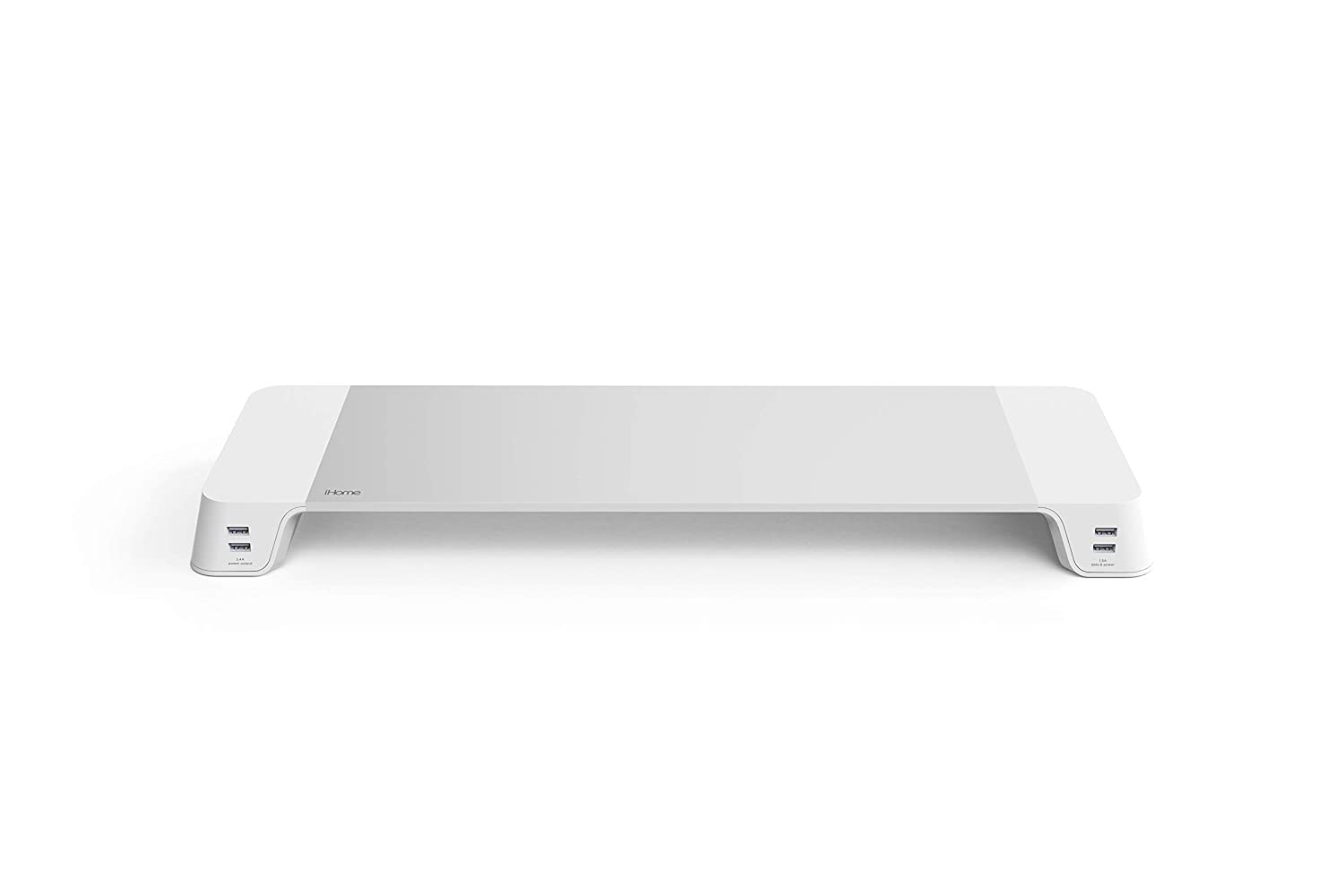 Computer Monitor Riser with USB Ports: iHome Monitor Stand with 4 Port USB Hub - Laptop, Computer Screen, or Small TV Shelf for Office Desk Organization - Single Desktop Riser with Built-in USB Ports