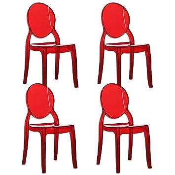 INSIDE Lot de 4 chaises médaillon IMPÉRATRICE Style Louis XVI en  Polycarbonate Transparent Coloris Rouge