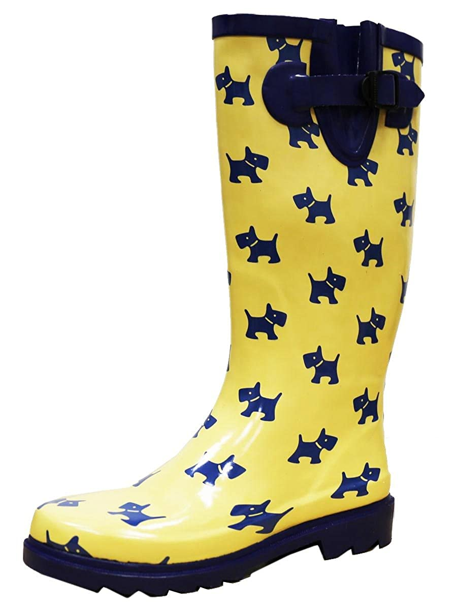 Yellow Puppy Print Cambridge Select Women's Waterproof Pattern Print Knee High Welly Rain Boot