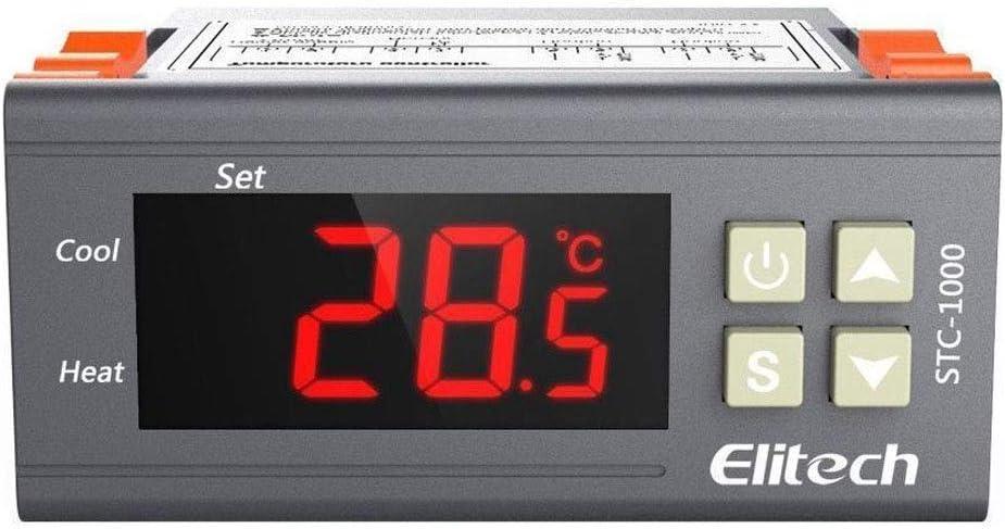 Elitech STC-1000 Mini Digital Controlador de Temperatura Termostato: Doble Reles 220v Termostato con 2m NTC Sonda, para Nevera Refrigeración y Caldera Calefacción, Temperatura Calibración Automática✩G