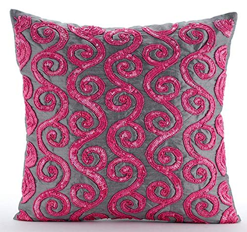 (Pink Decorative Pillows Cover, Beaded Fuchsia Pink Scroll Pillows Cover, 16