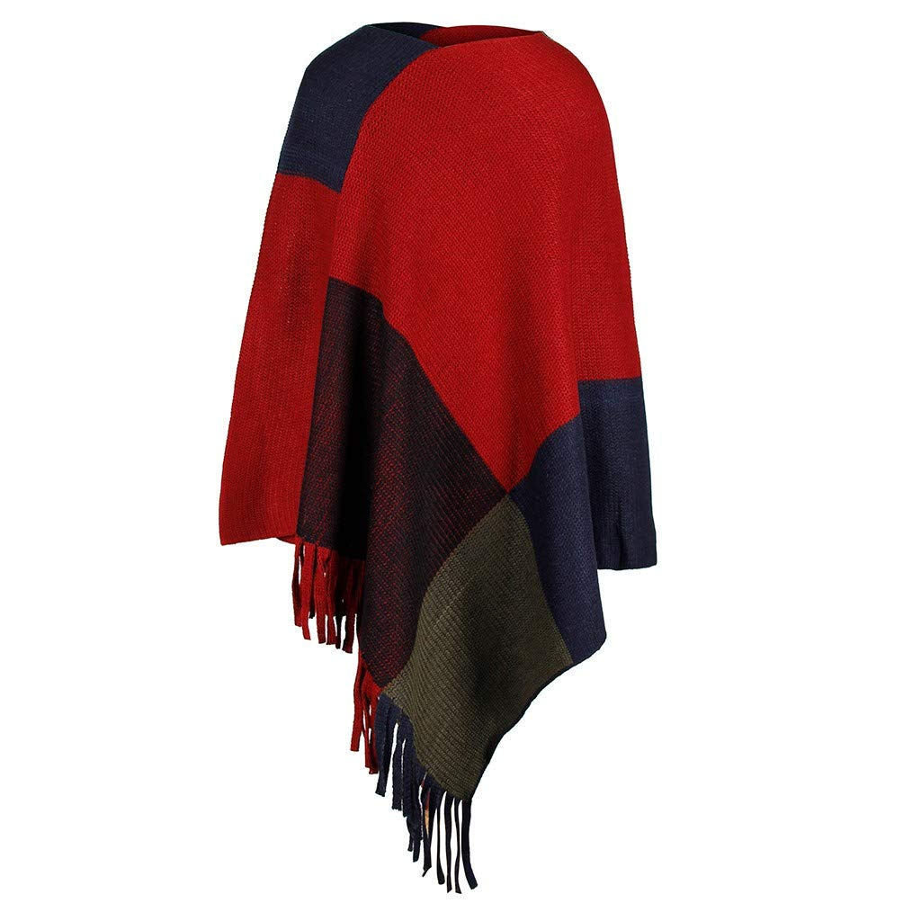 ZOMUSAR Fashion Women V-Neck Irregular Patchwork Cloak Loose Shawl Cardigan Ladies Sweater Coat Red by ZOMUSAR