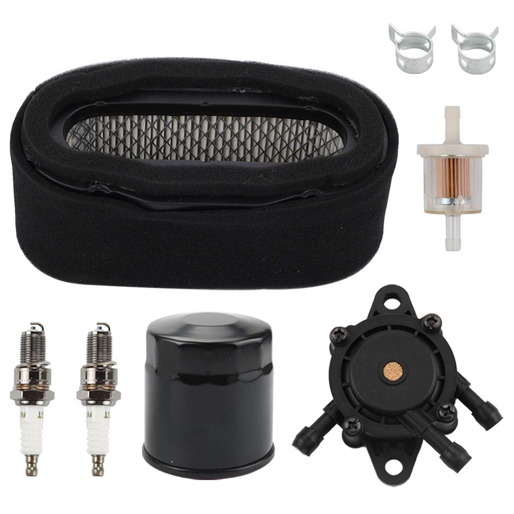 Honeyrain 11029-7002 11029-7012 11013-7024 11013-7010 Air Filter Tune up Kit with Oil Filter Spark Plug Fuel Pump for Kawasaki FH641V FH680V FH721V 19-25HP V-Twin Engines Lawn Mower
