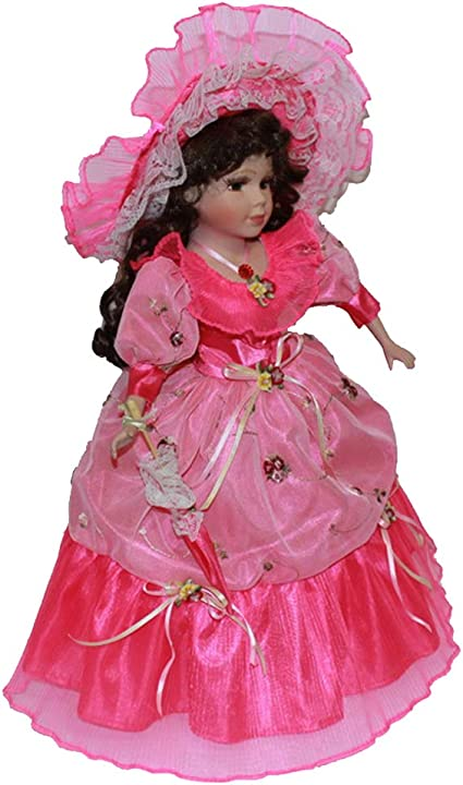 40cm Beautiful Porcelain Doll Victorian Lady with Pink Hat /& Stand Gifts