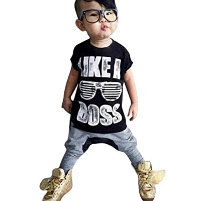 1Set Toddler Kids Baby Boys Letter Print T-shirt+ Haren Long Pants (2-3 Years, Black)