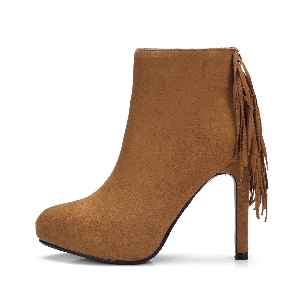 DYF Frauen Schuhe Kurze Stiefel Hellbraun, Fein Ferse Runden Kopf Gesäumt Farbe, Hellbraun, Stiefel 41 - 871920