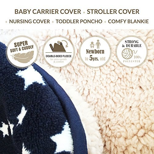 Stroller Cover and Baby Carrier Cover. Double Fleece Winter Cover – Fits Onto All Carriers Strollers. Adjustable with Hoodie. 5-in-1 Multipurpose. Grey