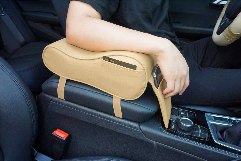 Negro Reposabrazos para coche espuma viscoel/ástica piel sint/ética cojines para reposabrazos para codos y antebrazos reposabrazos central con bolsillos de almacenamiento para tel/éfono