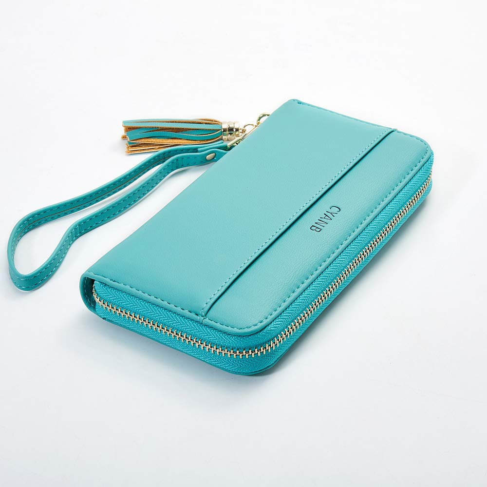 Cyanb Women Wallets Tassel Bifold Ladies Cluth Wristlet Wrist strap Long Purse Blue Green by Cyanb (Image #2)