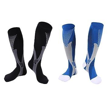 8d1923dc6e04e WINOMO Calcetines de Compresión Medias de Compresion Running Hombres  Mujeres Elasticas Azul Negro 2 Pares  Amazon.es  Deportes y aire libre