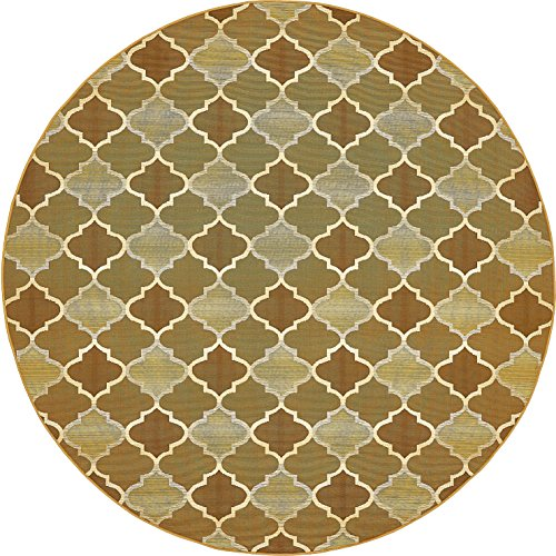 Unique Loom Outdoor Collection Moroccan Lattice Transitional Indoor and Outdoor Gold Round Rug (8' x 8')