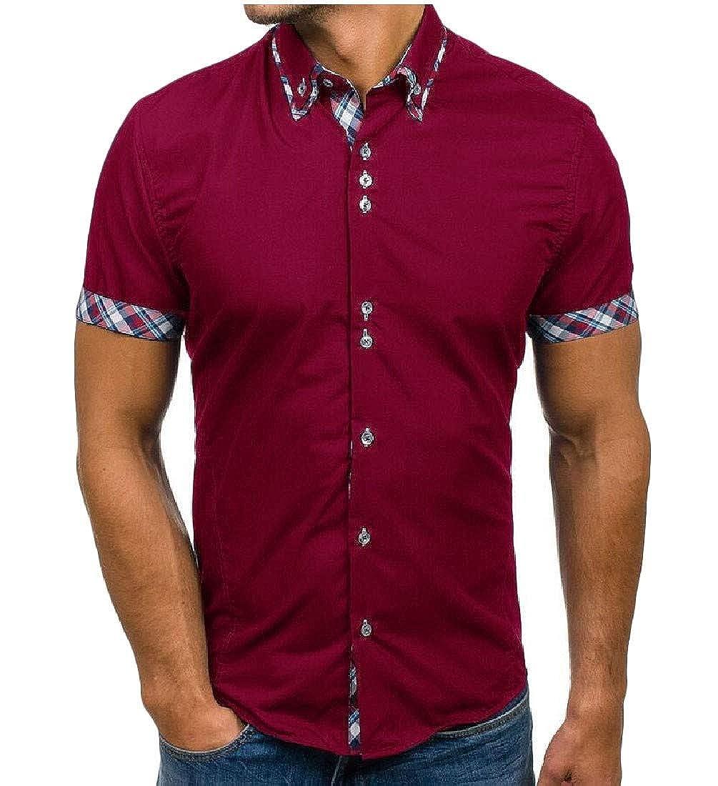 Pandapang Mens Hipster Slim Fit Short Sleeve Plaid Top Button Down Shirts