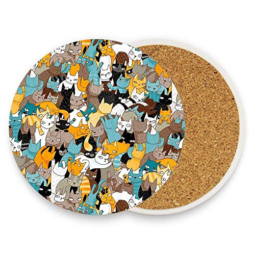 Jidmerrnm Cats On Catnip Absorbent Ceramic Coasters for Drinks Water-absorbent Quick-drying Coaster Cup Mats