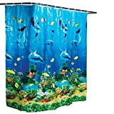 Clear Vinyl Fish Shower Curtain Collections Etc Dolphin Bay Under The Sea Shower Curtain, Blue