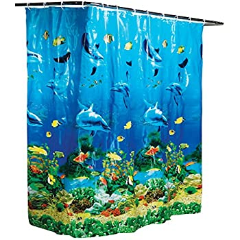 Collections Etc Dolphin Bay Under The Sea Shower Curtain Blue
