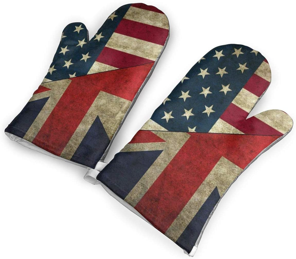 VshiXzno USA UK America British Flag Oven Mitts,Professional Heat Resistant to 500¡« F,1 Pair of Non-Slip Kitchen Oven Gloves for Cooking,Baking,Grilling,Barbecue Potholders