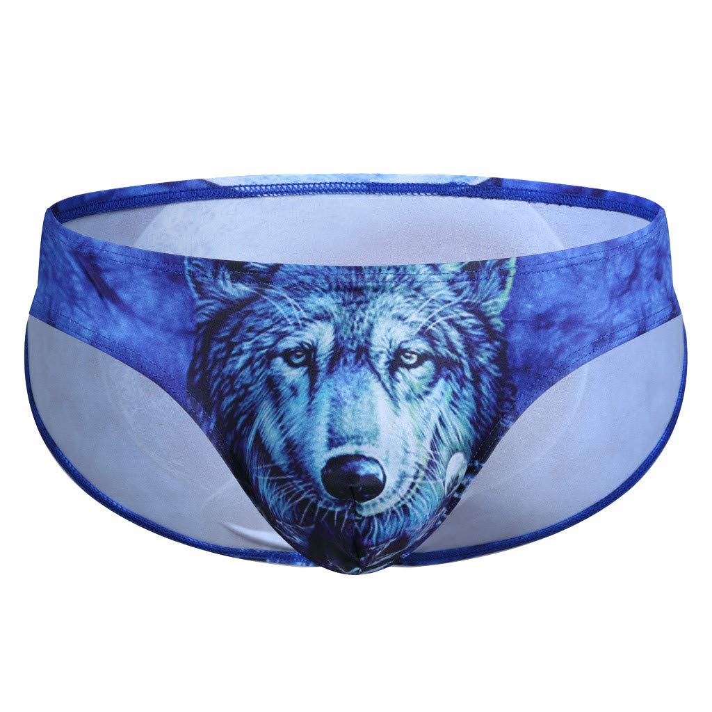 Quelife Men's Sexy Cotton Boxer Brief Underpants 3D Print Panties Underwear (Dark Blue,M)