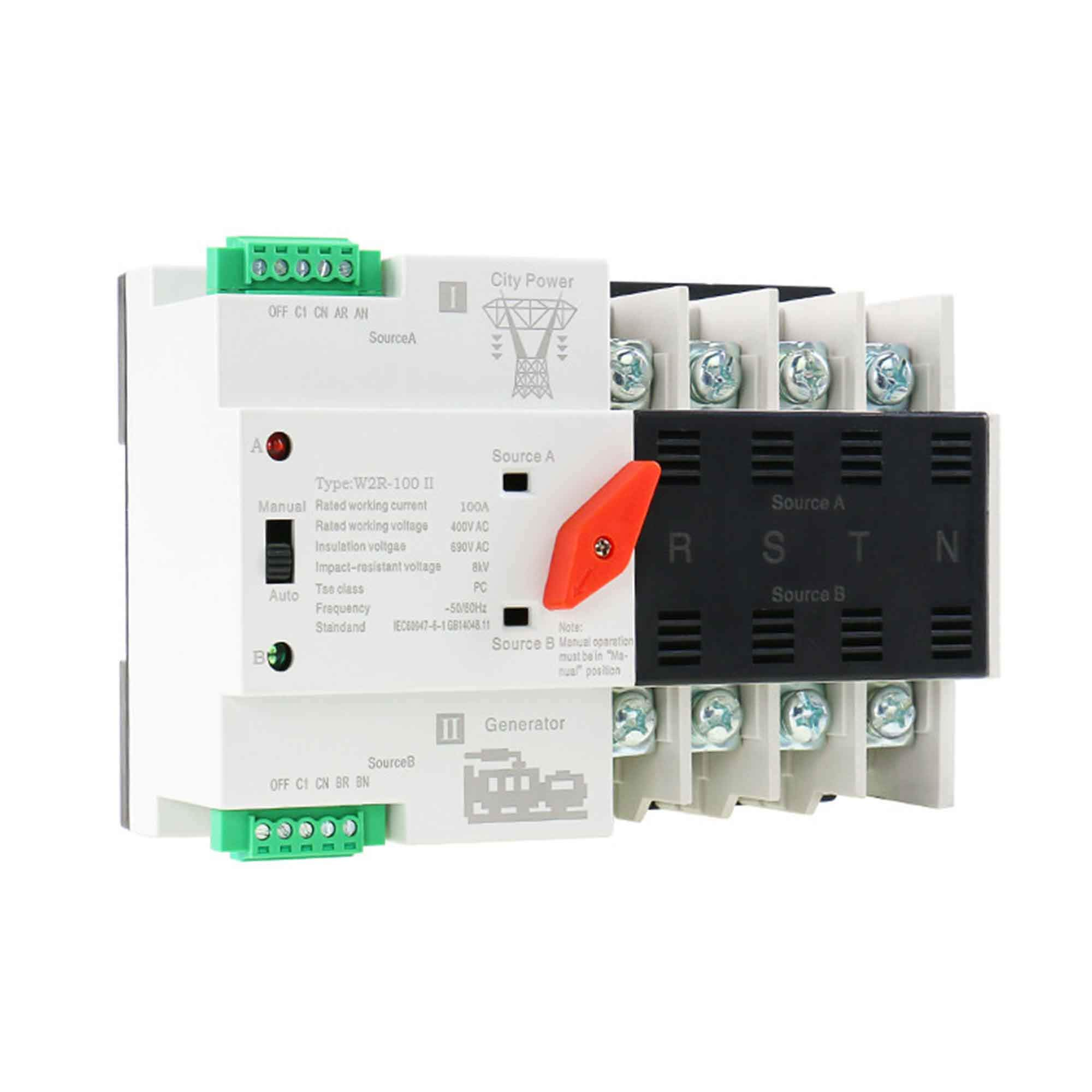 GAEYAELE W2R Mini ATS 4P Automatic Transfer Switch Controller Electrical Type ATS Max 100A 4POLE (W2R-4P 100A) by GAEYAELE (Image #3)