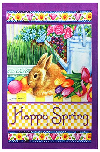 Happy Spring Bunny Garden Flag - decorative wall art