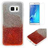 For Samsung Galaxy S7 Edge Glitter Case with Screen Protector,OYIME Luxury Shiny Design Ultra Thin Slim Fit Soft Silicone Rubber Bumper Scratch Resistant Protective Back Cover - Red