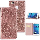 Stysen Flip Case for Huawei P9 Lite,Glitter Wallet Case for Huawei P9 Lite,Elegant Noble Stylish Rose Gold Ultrathin Secure Magnetic Closure Shiny Glitter Sparkle Bling PU Leather Bookstyle Soft Silicone Inner Tpu Case with Card Slots Pouch and Stand Function Folio Buckle Wallet Protective Case Cover for Huawei P9 Lite-Rose Gold