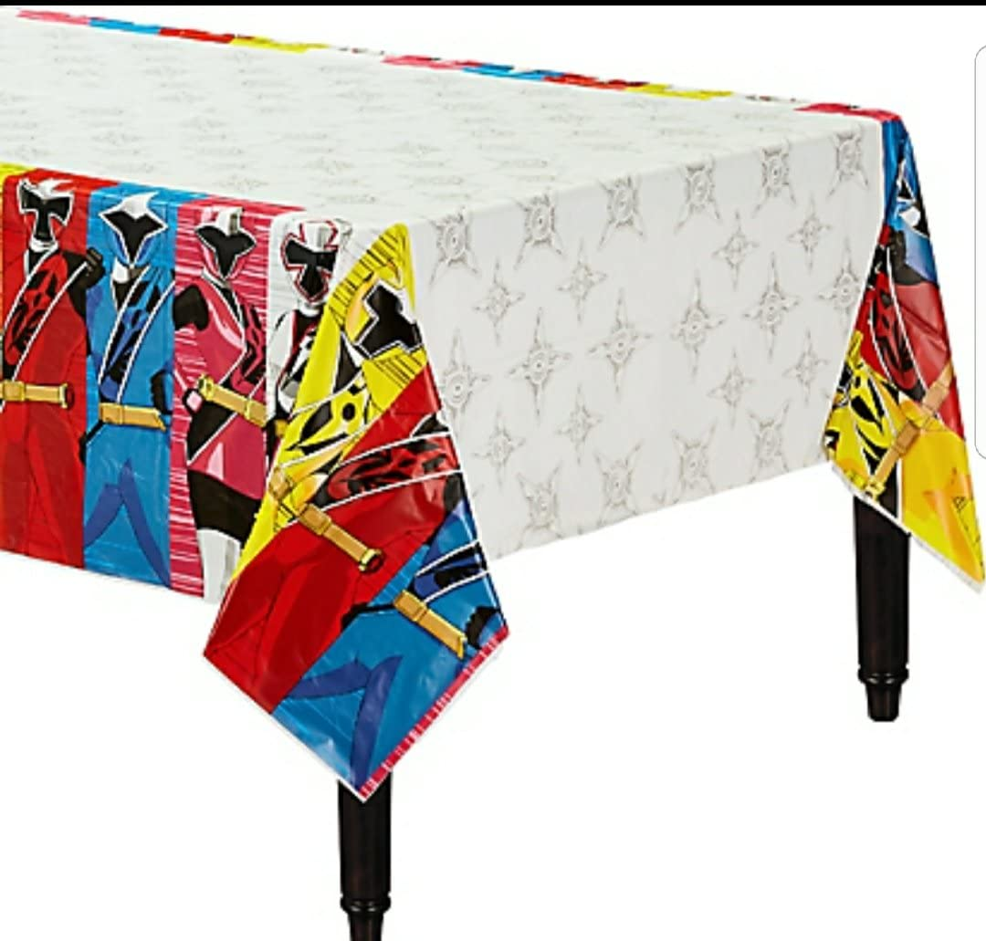 American Greetings Power Rangers Ninja Steel Plastic Table Cover, Multicolor