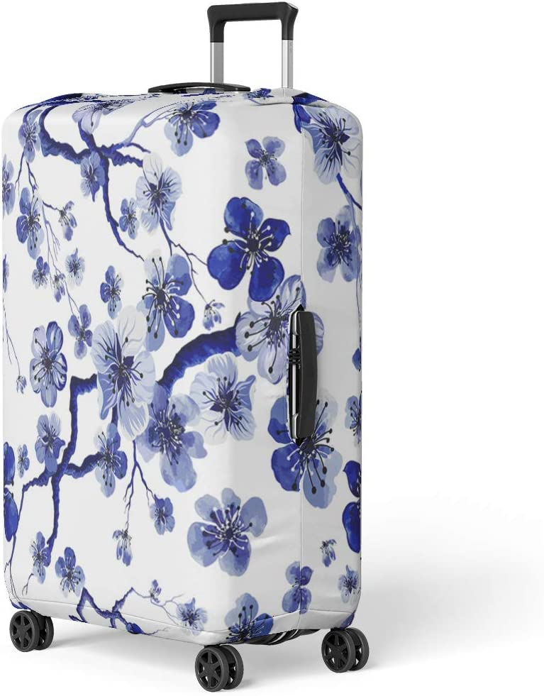 Travel Luggage Cover Watercolor Blue White Fabric Suitcase Protector