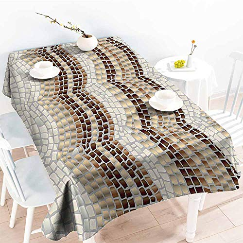 (Homrkey Easy Care Tablecloth Beige Decor Gradient Colored Mosaic Waves Setting Antique Roman Royal Dated Aged Retro Patterns Beige Tan Brown and Durable W70 xL84)