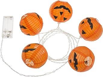 Pack 2 Guirnaldas 1,6 m, 5 farolillos Halloween naranjas, Ø 80 mm, LED luz cálida, luces a pilas, luces decorativas ...