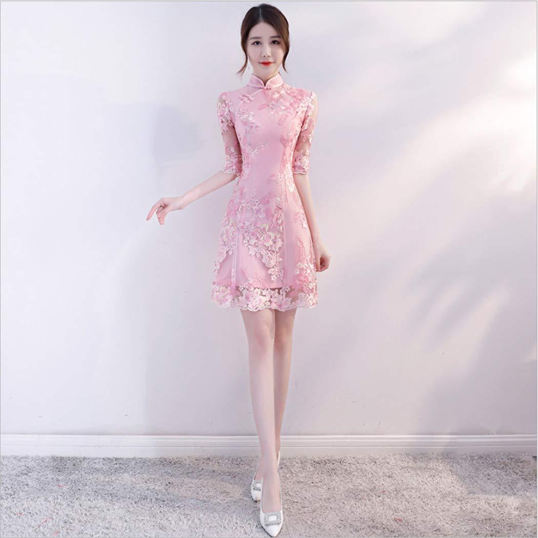Rose A 3XL DOLOJO Robe Cheongsam Fille Style Ethnique Slim