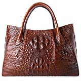 PIFUREN Designer Crocodile Top Handle Handbags Womens Genuine Leather Tote Bags 5002A Brown