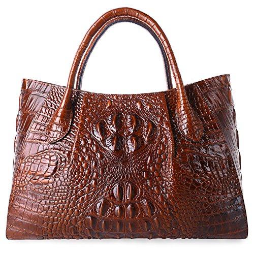 Genuine Designer Handbags - PIFUREN Designer Crocodile Top Handle Handbags Womens Genuine Leather Tote Bags 5002A Brown