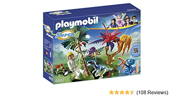 PLAYMOBIL Super 4 Lost Island with Alien and Raptor Building Kit 6687