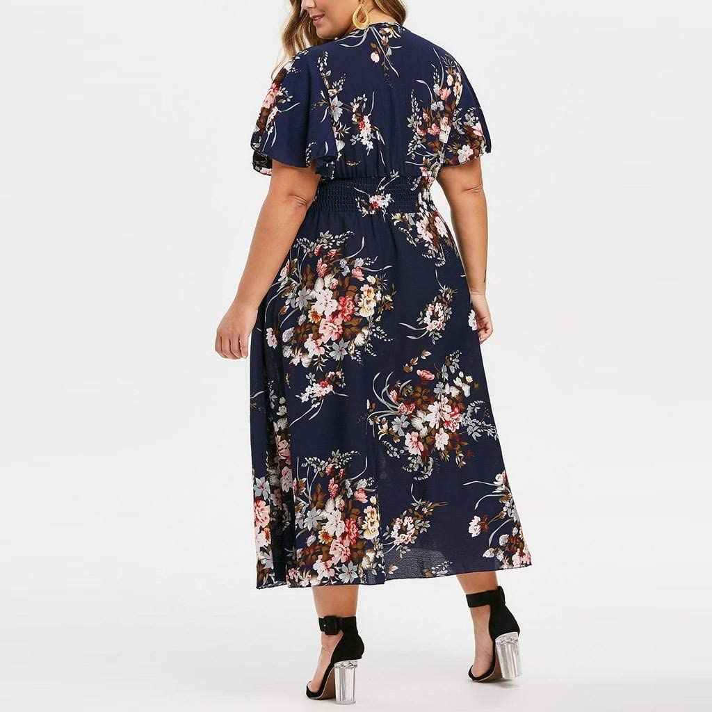 Plus Size V-Neck Fashion,Kanpola Women Floral Printed V-Neck Short Sleeve Casual Dress