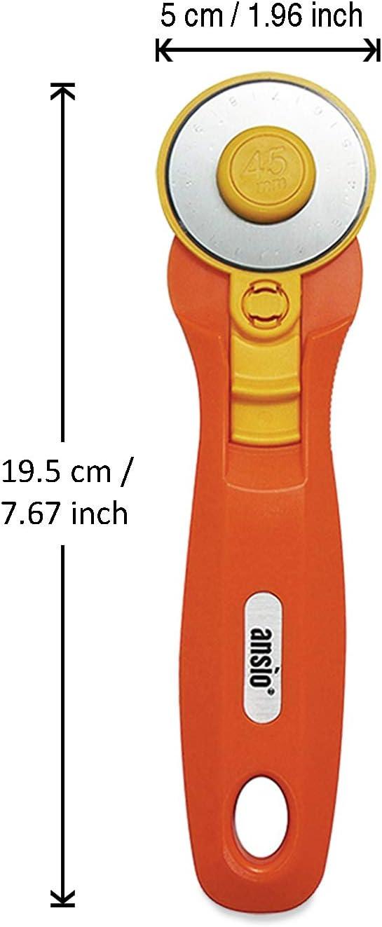 Gestalten ANSIO Rollschneider Orange ideal zum Absteppen scharfe Edelstahlklinge Schneidern 45 mm