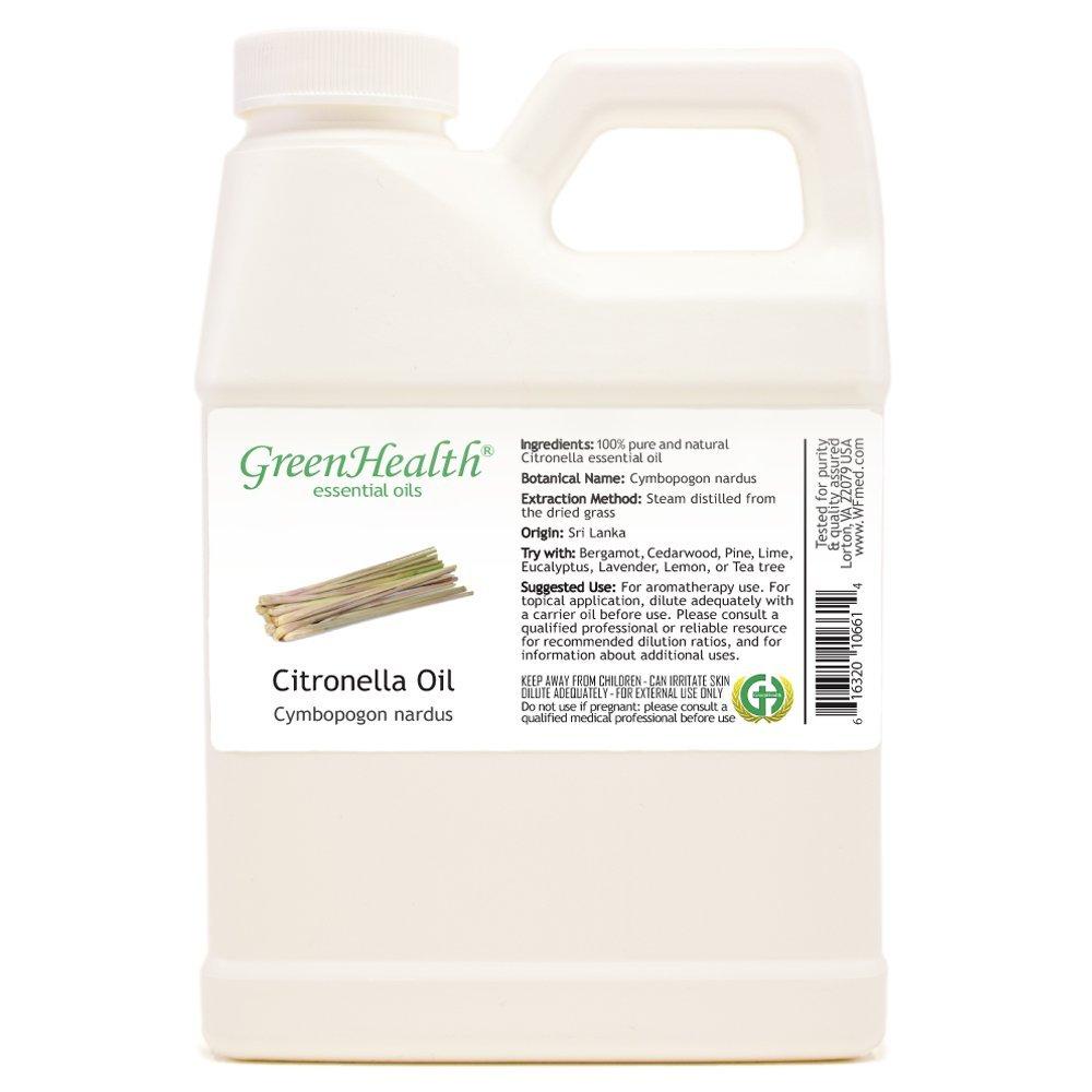 GreenHealth Citronella - 16 fl oz (473 ml) Plastic Jug w/Cap - 100% Pure Essential Oil