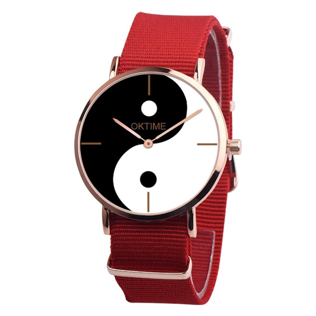 vmree Men Women Vogue Chinese Taoism Yin and Yang Dial Quartz Wrist Watch Canvas Band Analog Dress Watch Ideal Gift (Red)