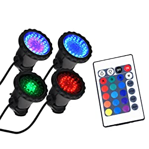 WEKSI 4Pcs RGB 36 LED Submersible Spot Light Underwater Colorful Landscape Lamp Outdoor IP65 Decorative Lamp with IR Remote Control for Aquarium Fish Tank Garden Fountain Pond Pool Wall Yard Path