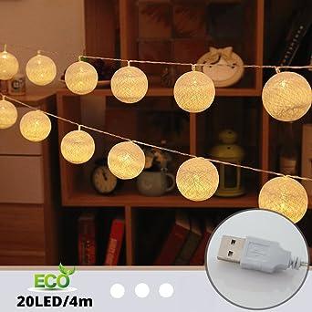 Cadena de Luces para Algodón Bola, Morbuy 4m USB Decorativas LED ...