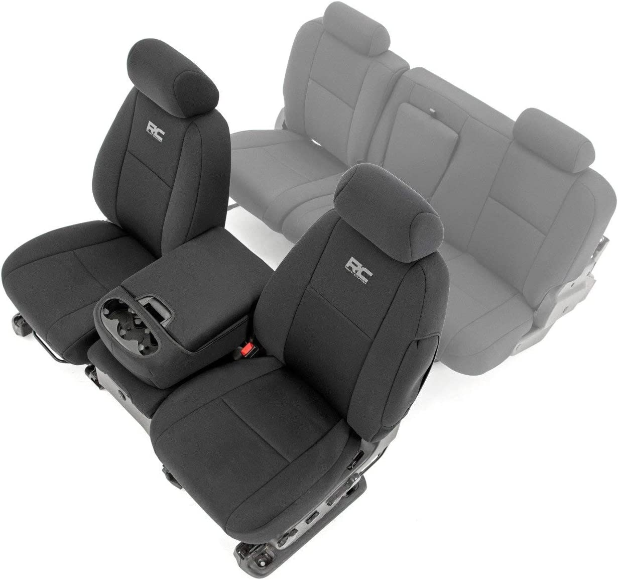 Black 91032 Rough Country Neoprene Front Seat Covers for 07-13 Chevy Silverado 1500//11-13 2500 HD Ext Cab