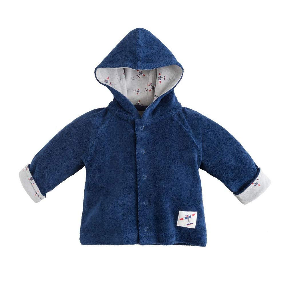 Under the Nile Organic Cotton Twilight Navy Baby Boy Terry Snap Front Hoodie