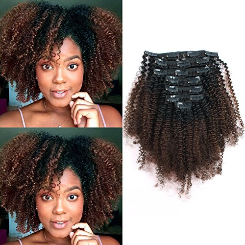 Sassina Real Thick Double Wefts Clip In Human Hair Extensions Afro Curly Style Two Tone 1B Off Black Fading into Light Chocolate Brown 120 Grams 7 Pieces-Set With 17 Clips AC 1BT4 14 Inch