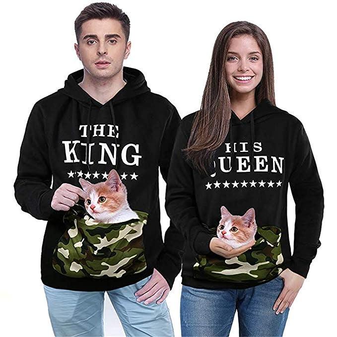 Queque Shine Pareja King & Queen Sudaderas con Capucha Manga Larga Encapuchado Jersey Pull-Over