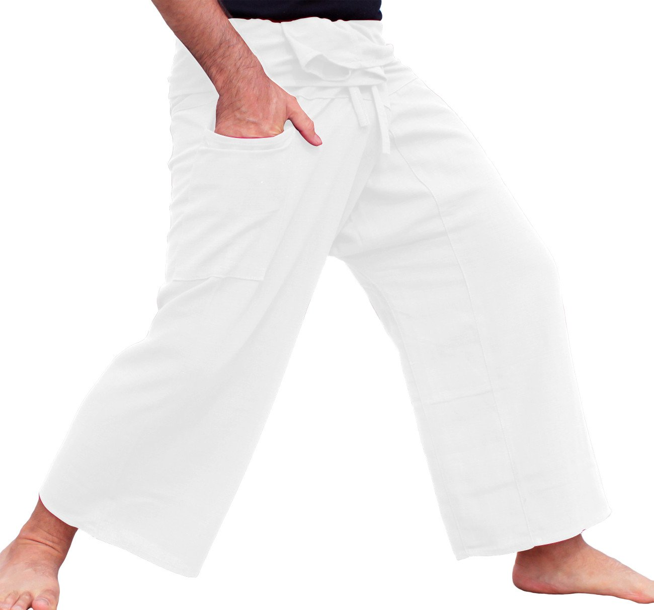 Raan Pah Muang Brand Plain Thick Line Cotton Thai Fisherman Wrap Tall Length Pants, X-Large, White by Raan Pah Muang