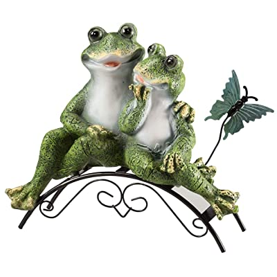 Fox Valley Traders Resin Frog Couple on Bench : Garden & Outdoor
