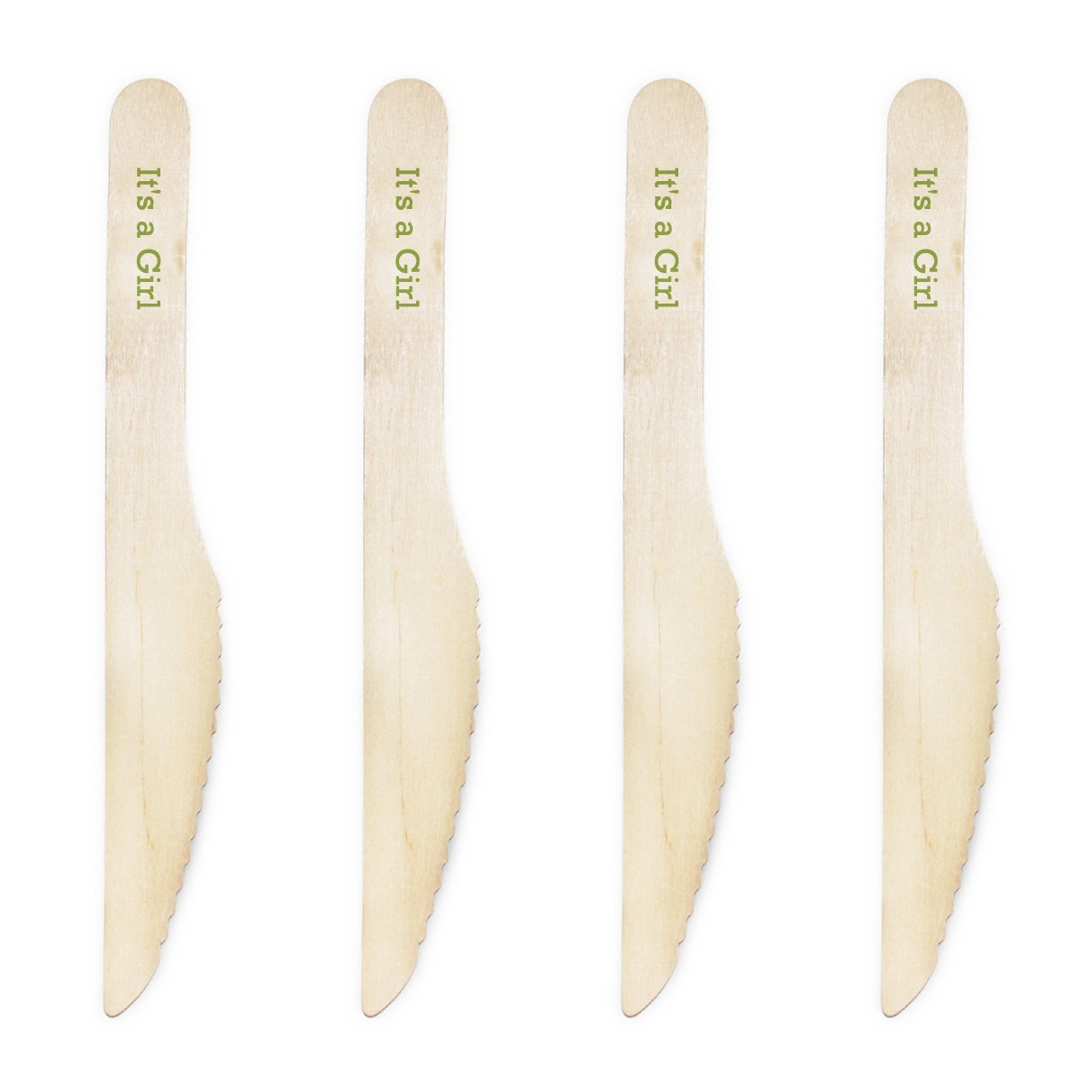 Dress My Cupcake Natural Wood Candy 200-Pack Buffet Knives DIY Kit, It's a Girl, Kiwi Green