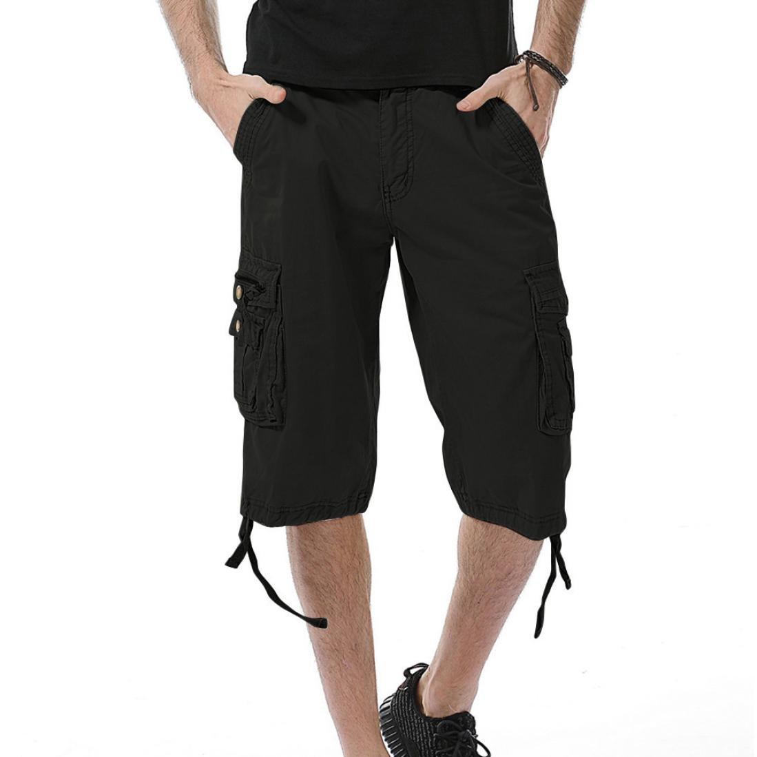 SUKEQ Men's Loos Fit Twill Cargo Shorts, Lightweight Cotton Multi-pocket Capri Pants Outwear (40, Black)