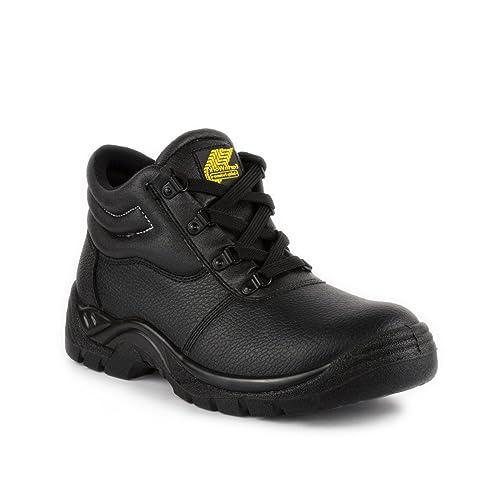 Safety - Calzado de protección de cuero para hombre, color negro, talla 47